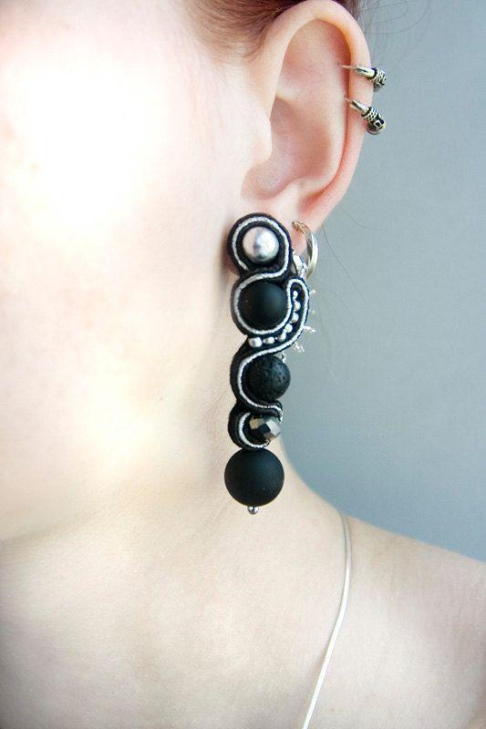 Black silver soutache earrings