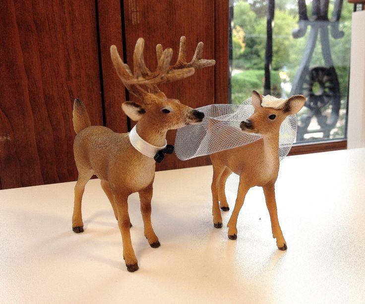 Redneck Cake Topper / Deer Cake Topper / Wedding Cake Topper / Rustic White Tail Deer Cake Topper by hawthornehill on Etsy https://www.etsy.com/listing/203761801/redneck-cake-topper-deer-cake-topper