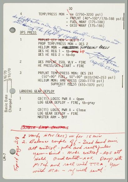 Lovell's Apollo 13 notes auction for $84,000 at Bonhams