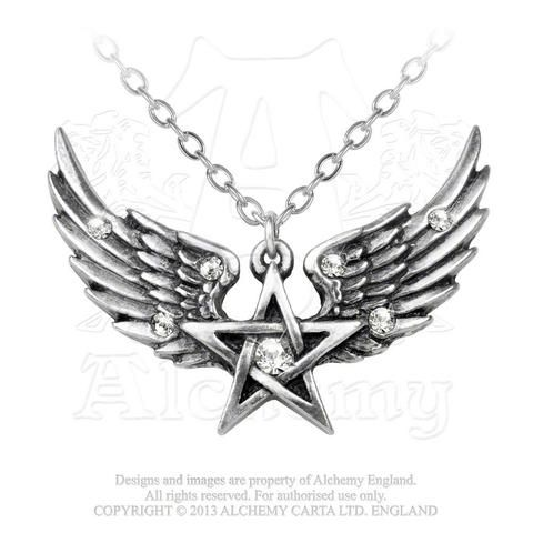 P693 - O Fortuna Pendant A transcending spirit of harmony and mankind and the perfect union of opposites.  This wing led pentagram pendant has detailed feathered wings, embedded with six small, clear Swarovski crystals.  A single, larger crystal sits in the center of the pentagram.