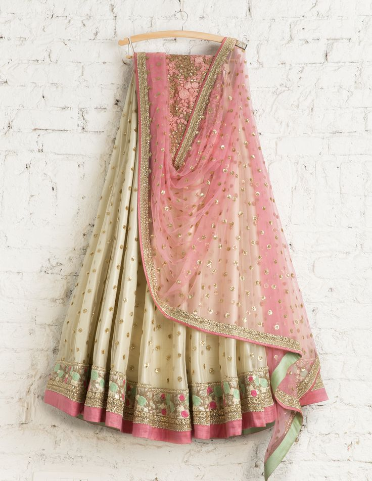 SwatiManish Lehengas SMF LEH 177 17 Vanilla Lehenga and candy floss dupatta with pink thread work and gold sequin blouse