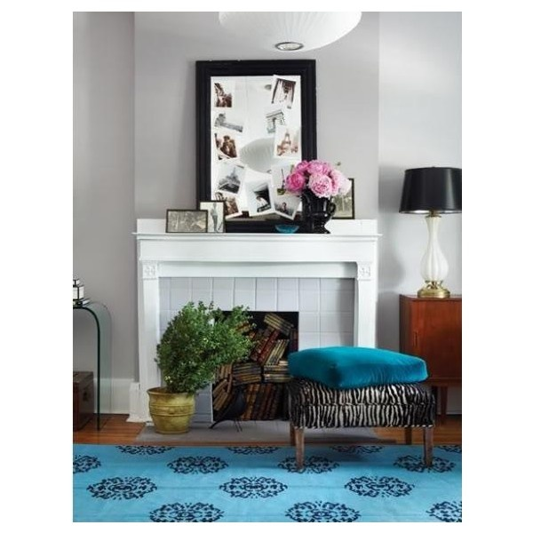 Gray And Teal Living Room By Jurzychic On Polyvore: Blue Rug Zebra Bench Ottoman Fireplace Gray