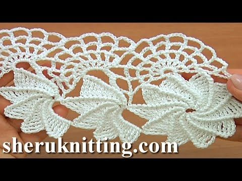 Crochet Spiral Flower Lace Worked in Rows Tutorial 23 Part 1 of 2 - YouTube