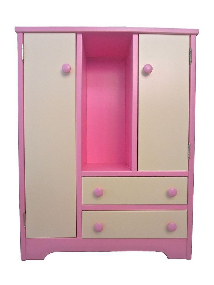 "18"" DOLL Wood WARDROBE HUTCH Furniture Wooden American Handmade Girl PINK YELLOW #Handmade"