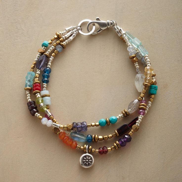 """FLOWER MARKET BRACELET--One sterling silver flower charm blooms among a field of color—iolite, apatite, garnet, turquoise, labradorite, citrine and more—in a triple-strand bracelet that's always in season. Sterling toggle. USA. Exclusive. 7-1/2""""L."""