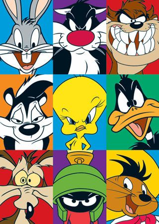 looney tunes : bugs bunny, silvester cat, tazmanian devil, tweety, daffy duck, road runner