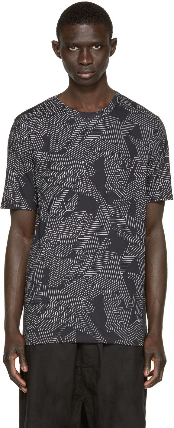 Helmut Lang - Black Labyrinth Print T-Shirt