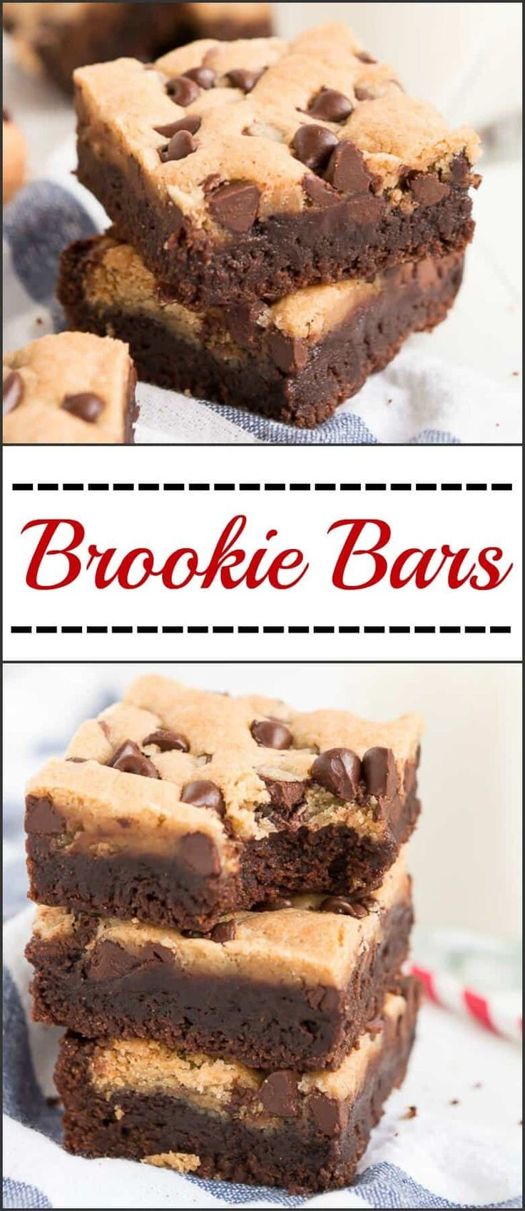 You can enjoy a fudgy brownie and a chewy chocolate chip cookie with each bite of these awesome, scrumptious Brookie Bars! via @ohsweetbasil