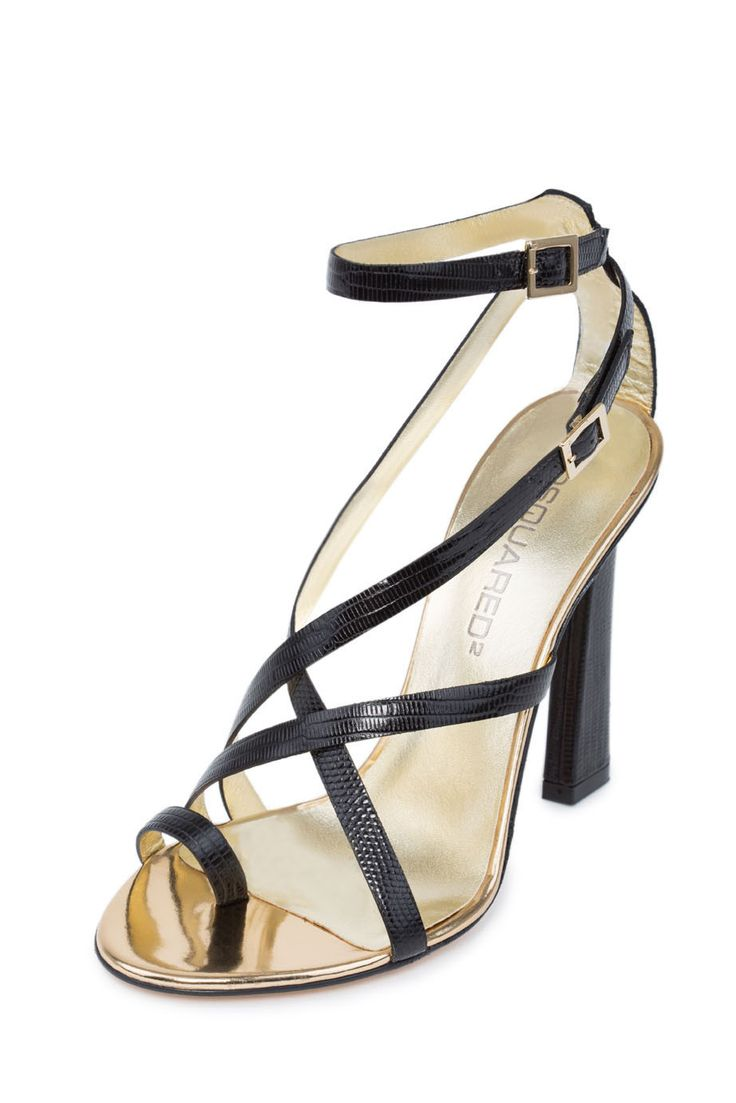 Dsquared2 Black Leather Ring Toe High Heels Sandals