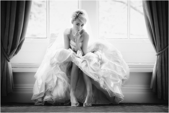 Bride in Marilynesque pose.
