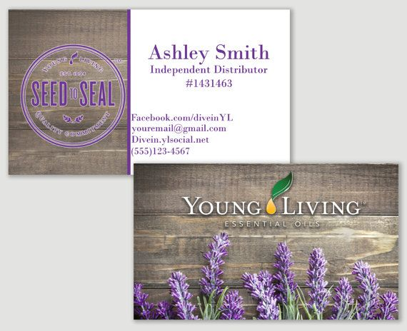 young living lavender and wood business card for distributors