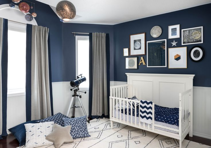 "This room was designed for a little boy to update his nursery to his ""big boy"" room.  The bead board wainscotting, convertible toddler bed and dresser were existing.  My client wanted a ""celestial"" theme that was not too ""themey"".  This drove the design in that most (although not all) of the elements of the design were suggestive of the celestial theme, rather than literal.  This is how I prefer to approach children's room design because it allows the room the grow with the child.  Who…"