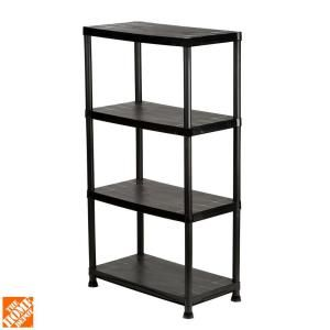 HDX, 4-Shelf 15 in. D x 28 in. W x 52 in. H Black Plastic Storage Shelving Unit, 17307263B at The Home Depot - Tablet