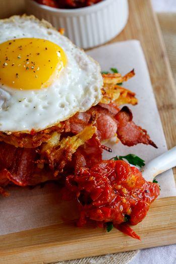 Potato rösti, bacon & egg stacks with tomato relish - a modern twist on the Full English!