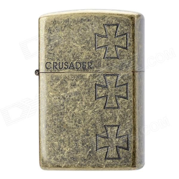 Earth Classic Crusader Pattern Windproof Fluid Fuel Lighter