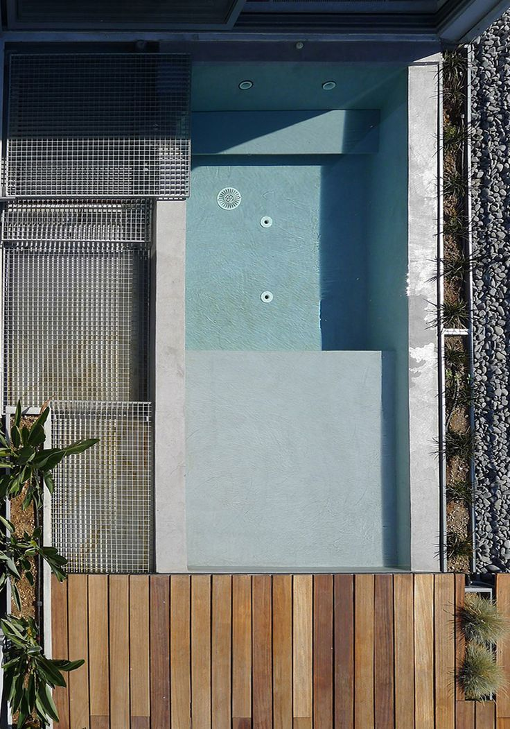 Plan view of swimming pool. Rooftop design in Athens, Greece