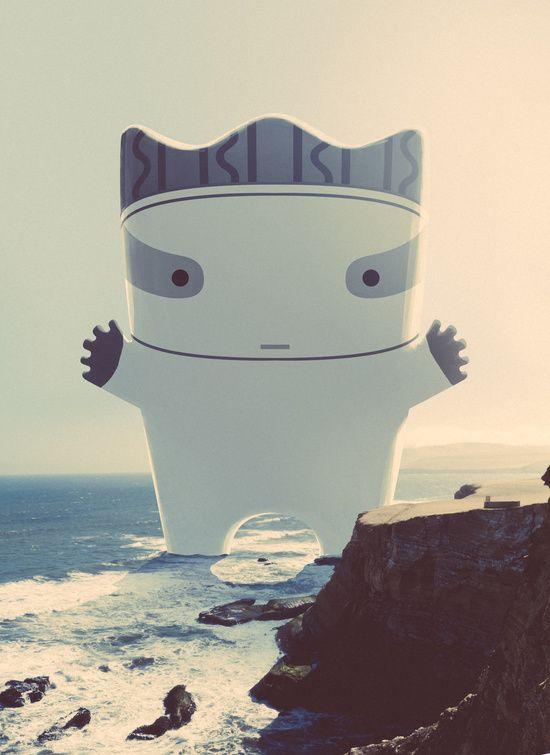 Cuchimilco ( Peruvian Idol ) Art Print by KikeRiesco, Giant cute character at the beach poster