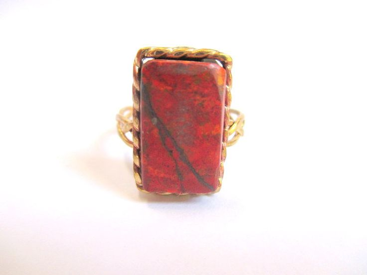 Rectangular brass & cuprite pleat and rope ring by Picossa on Etsy