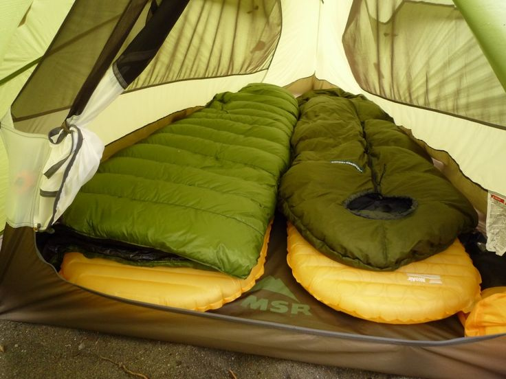 ZPack's 20 degree sleeping bag (left) and Feathered Friends Rock Wren (right) inside the MSR Nook tent with Therm-a-Rest NeoAir XLite pads.Credit: Outdoor Gear Lab