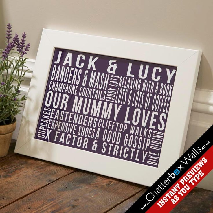 Personalised Favourite Things Framed Word Art Print
