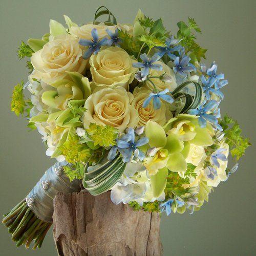 bridal bouquet with tweedia, pale blue hydrangea, Cream Prophyta roses, green mini cymbidiums, bupleurum and variegated lily grass