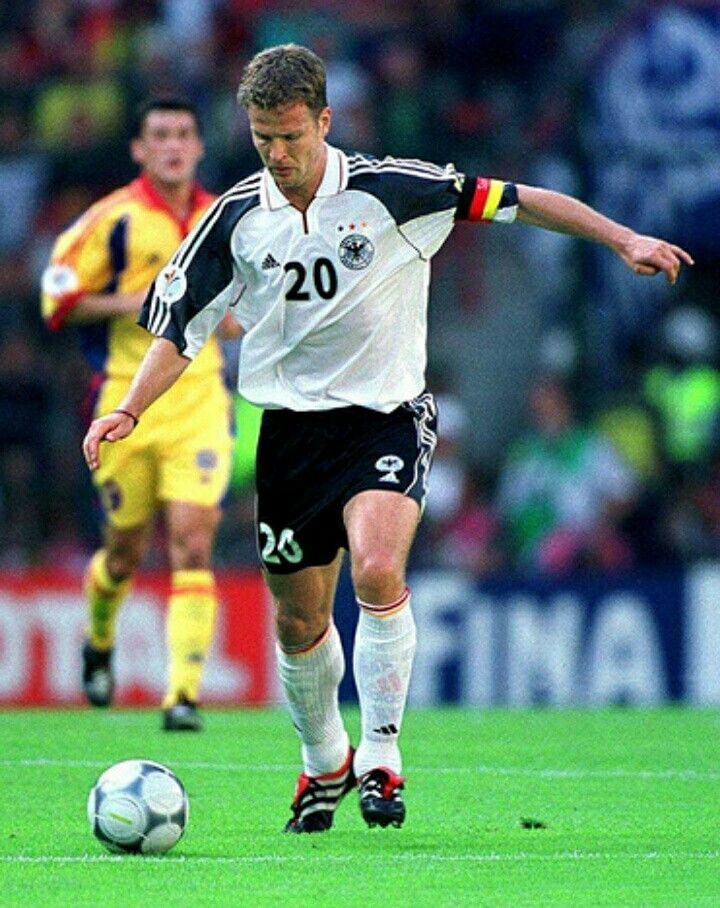 Germany 1 Romania 1 in 2000 in Liege. Oliver Bierhoff was made captain of Germany for Euro 2000. He looks to set something up against Romania in Group A.