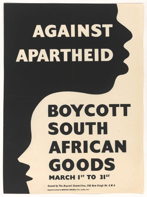 Against Apartheid. Boycott South African Goods, Mountain and Molehill, for The Boycott Committee, 1960