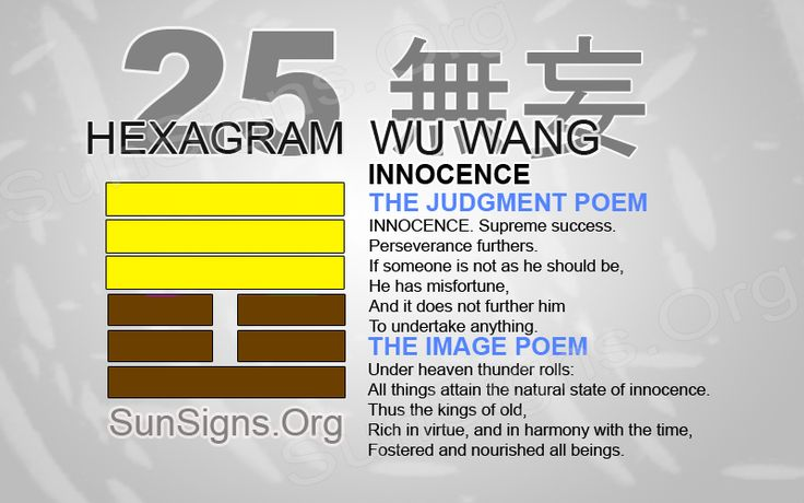 "I Ching Hexagram 25: 無妄 ""Innocence"" - Wu Wang 