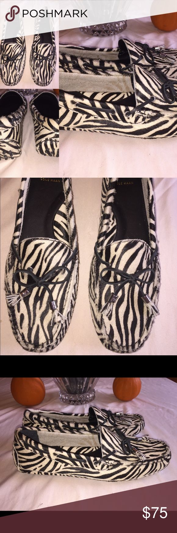 Cole Haan Zebra Moccasin Drivers Zebra print, calf hair Marketed as a driving shoe, moccasin style Brand new, never worn. Marking on bottom as shown. Size 8.5 B Cole Haan Shoes Moccasins