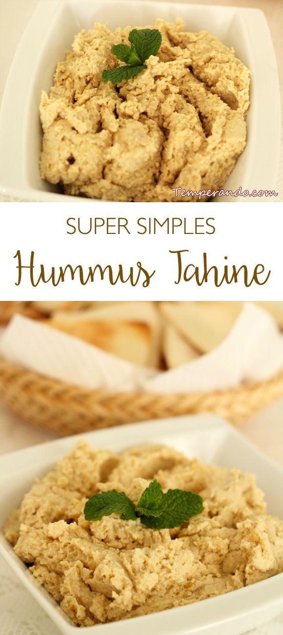 HUMMUS TAHINE - Deliciosa e super simples receita de hummus tahine,, uma pasta de grão de bico divida para servir como entrada | temperando.com #entrada #pastaseatepastos #hummus