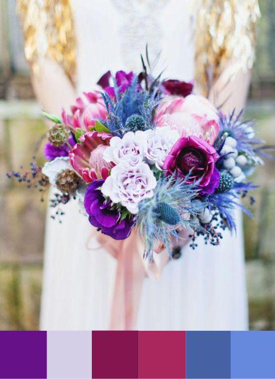 Purple, Blue and Magenta Wedding Bouquet|Photography: Flora + Fauna