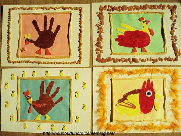 Cadres de Pâques réalisés avec les empreintes de mains