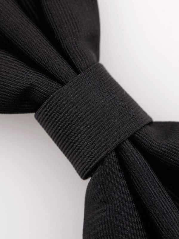 Ribbed black silk bow tie - Rosi Collection