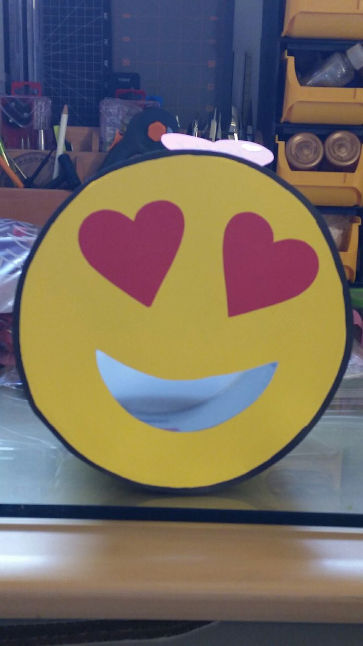 Emoji valentine box! Super easy. Using old icecream container.