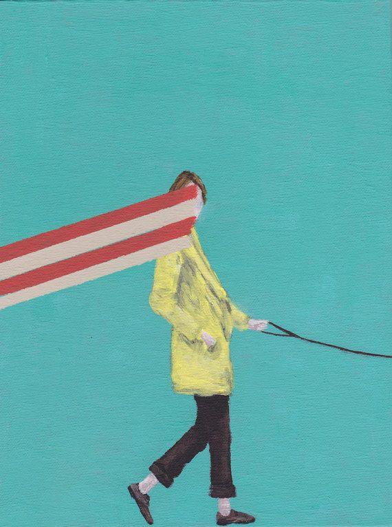 In Disguise // Art print // Portret // Blauw, geel, rood // Kunst voor aan de muur // Vrouw // Hond // Gele Jas // Kleur // Kleurrijk