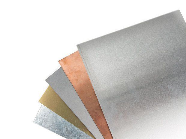 Guide for choosing, bending, cutting sheet metal From left to right: Galvanized Steel, Brass, Steel, Copper, Aluminum