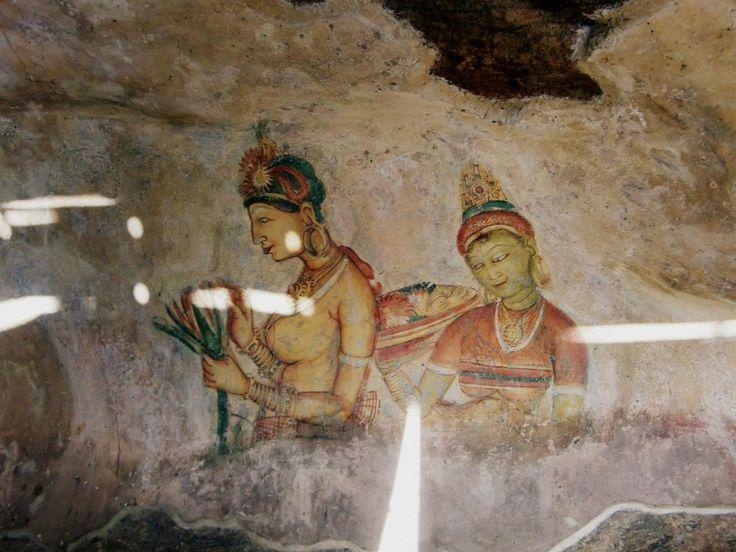 Famous painting at Sigiriya rock.
