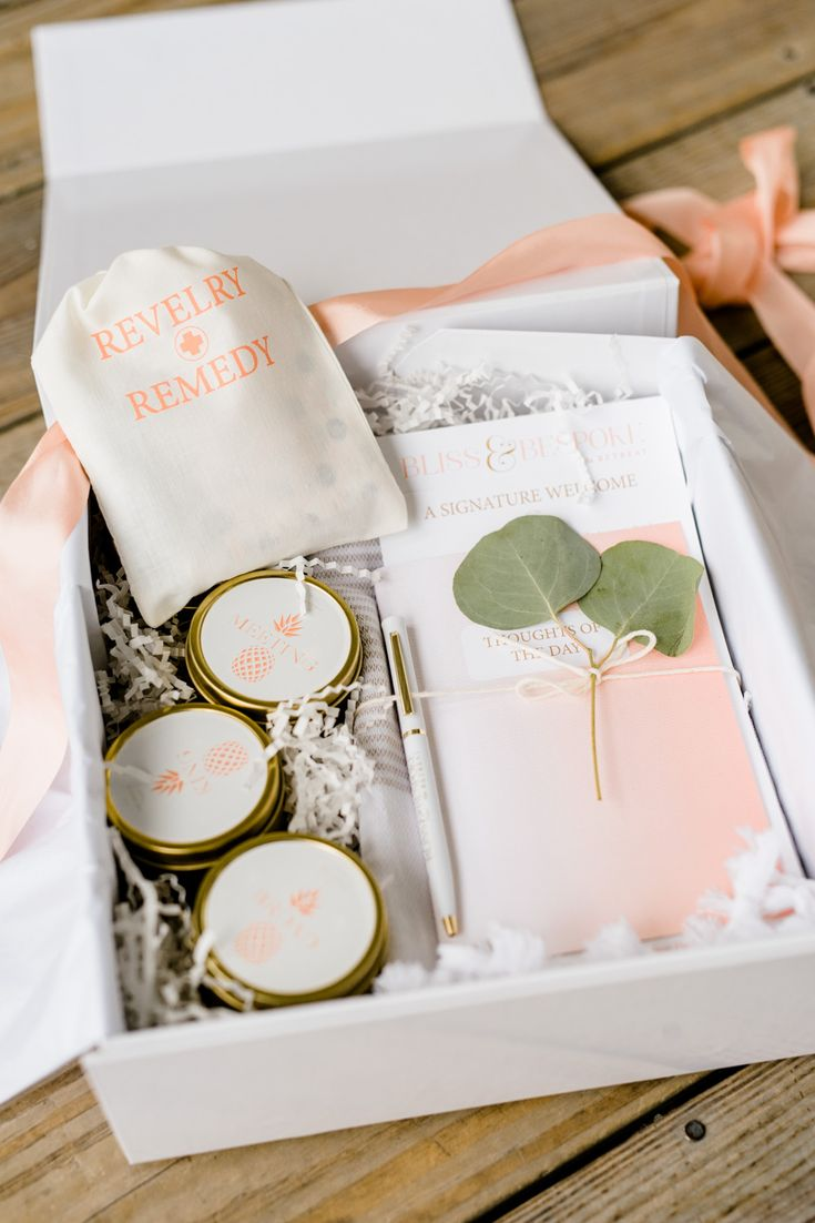 Welcome Box At The Bliss And Bespoke Retreat Designed By A Signature Welcome Wedding Boxeswedding Favorswedding Giftswedding Dayrustic