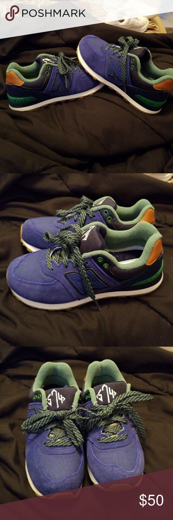 New never worn New Balance Sneakers! Brand new. Never worn. Tried on. Too small. Stored in closet without box so a little ruffled, but still excellent coi edition! Great tan leather makes them so Stylish! Perfect for fall! Exclusive! New Balance Shoes Sneakers