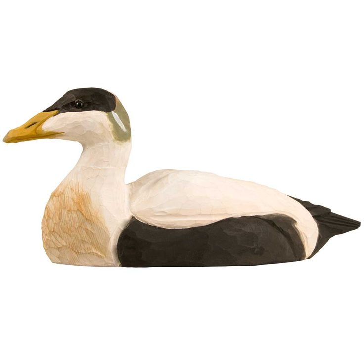 DecoBird Eider is beautifully carved out of lime wood and painted by hand. The eider is an excellent diver that can reach a depth of ten metres. It swims to the bottom of the sea to feed on mussels, among other things. #eider #duck #seabird #decobird #wildlifegarden #wildlifegarden.info #eiderente #ejder