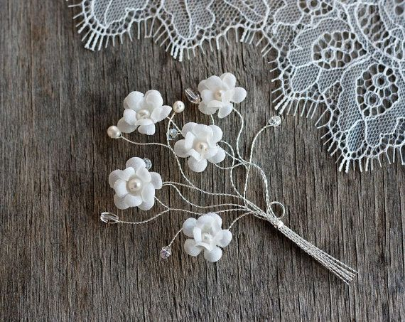 Groom boutonniere Rustic wedding boutonniere White by ArsiArt, $15.00