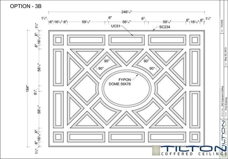 Coffered Ceiling Design Drawing - Bespoke 19