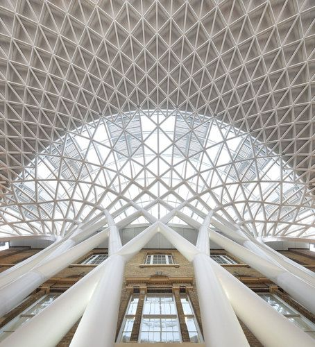 The new roof structure at Kings Cross Station, London.