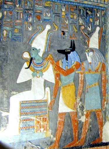 Horus Osiris and Anubis from a tomb's draw  The gods Anubis Osiris and God Horus from a tomb painting. Osiris is the mythological father of the deity Horus whose excogitation is described in the Osiris myth a serious myth in ancient Egyptian belief. The myth described Osiris as having been defeated by his brother Set who idolized Osiris' throne. Isis engaged the fragmented patches of Osiris but the unique body part gone was the phallus. Isis fashioned a golden phallus and briefly got Osiris…