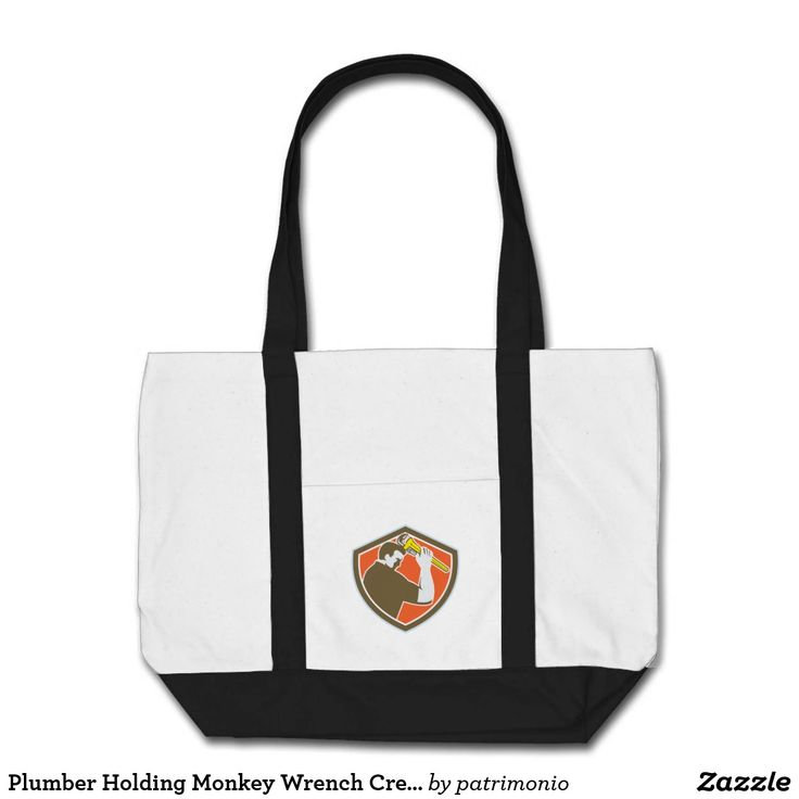 Plumber Holding Monkey Wrench Crest Retro Tote Bag. Tote bag with an illustration of a plumber holding a monkey wrench viewed from the side set inside a shield on isolated background done in retro style. #totebag #plumber #monkeywrench
