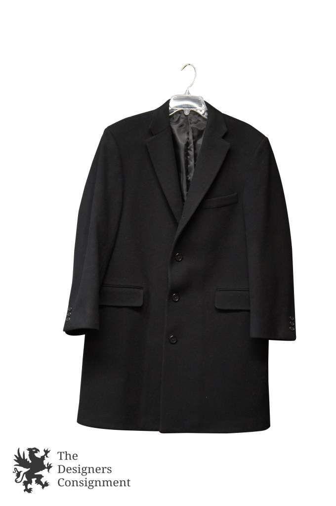 Burberry London Men's Top Overcoat Jacket Dark Gray Black 100% Wool Size 40 | The Designers Consignment