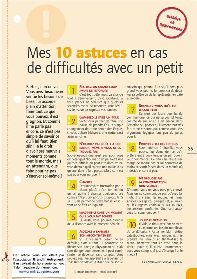 10 astuces en cas de difficultés avec un petit.