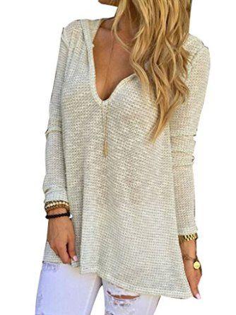 Fall Fashion: Women's Acrylic V-neck Hooded Long Sleeve Loose Sweater