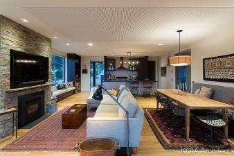 The home has a generous floor plan, with the first floor including the kitchen, lounge and dining area