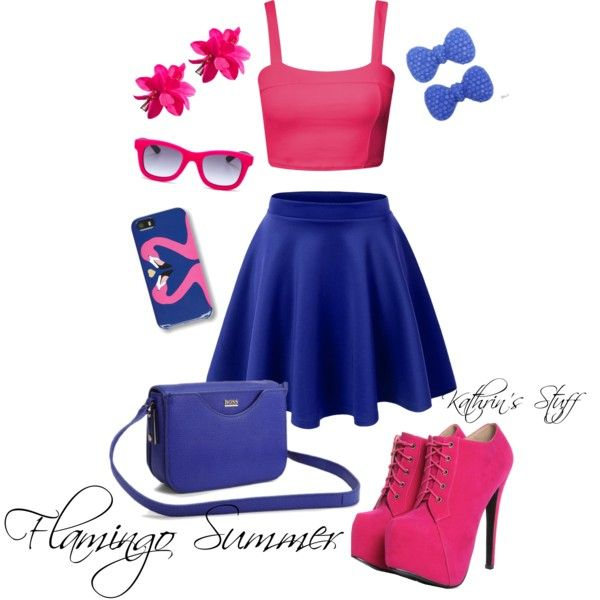 Flamingo Summer by kathrinstuff on Polyvore featuring BOSS Black, Kate Marie, Italia Independent, H&M and C. Wonder